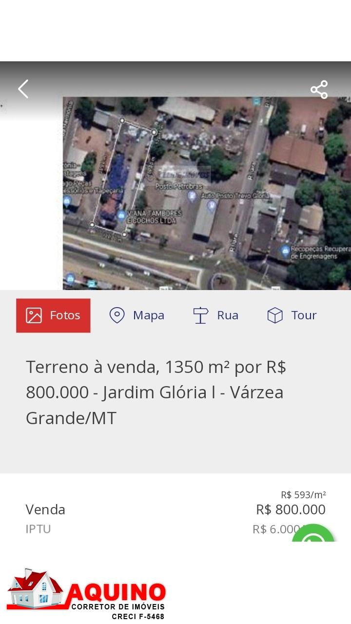 Terreno com 1.350 m² a venda no Jardim Gloria I em Varzea Grande/MT
